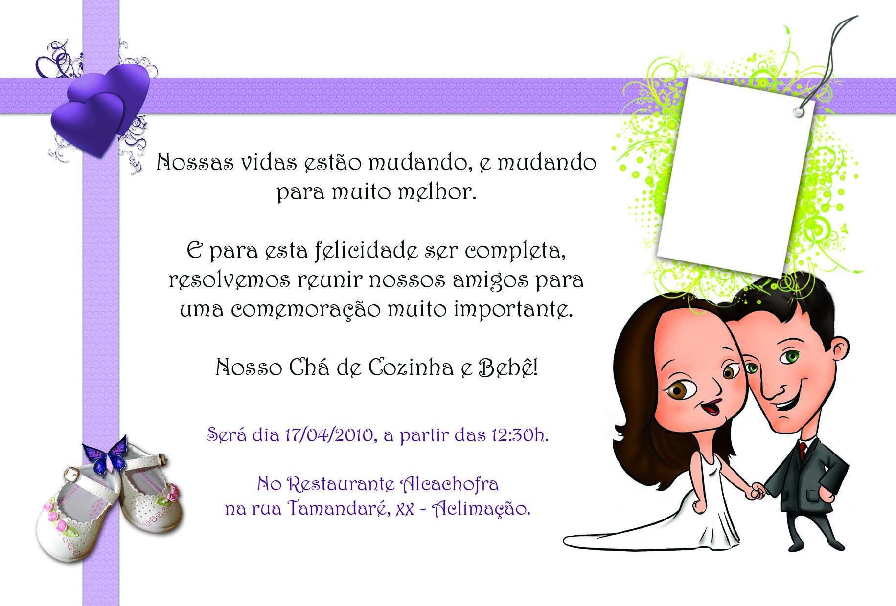 Convite Chá de cozinha e bebê / Chá Bar